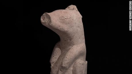 A stone sculpture found in Aguada Fenix dating from 1000-700. years before Christ.