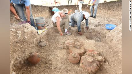 In addition to mapping Aguad Fenix from the sky, the team also excavated the site, discovering ceramic pots and other objects.