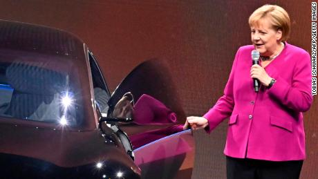 German Chancellor Angela Merkel was photographed next to the electric Mercedes in 2019.