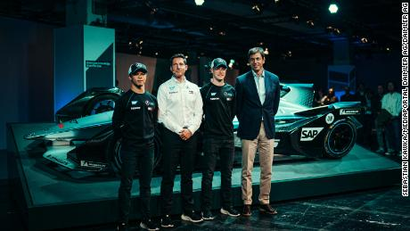 Ian James and Toto Wolff at the Mercedes-Benz EQ Formula E Team launched with the teams & # 39; drivers Nyck de Vries and Stoffel Vandoorne.