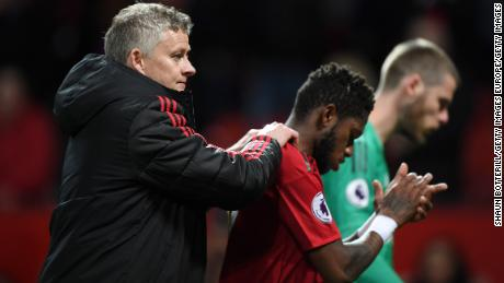 Solskjaer is consulting with Fred after the Premier League match against Manchester City.