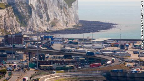 Trucks pass through the port of Dover in Great Britain.