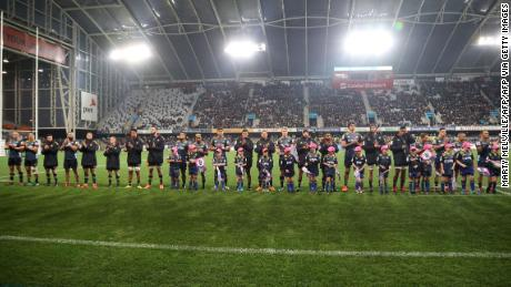 The Otago Highlanders assembled before the start of the match at Forsyth Barr Stadium in Dunedin, the first since the Covid-19 restrictions were largely lifted in New Zealand.
