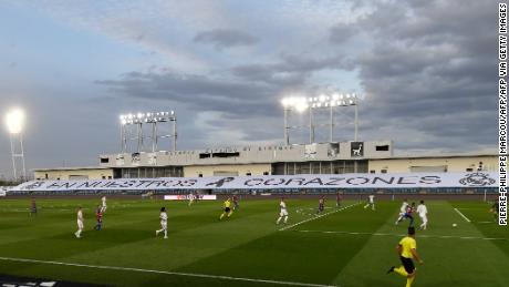 Real Madrid decided to use empty stands at Estadio Alfredo di Stefano to display the inscription