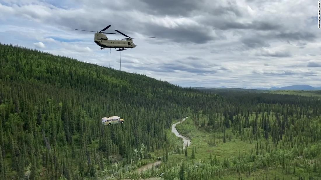 The plane removed the 'Into the Wild' bus, known as the deadly tourist bait