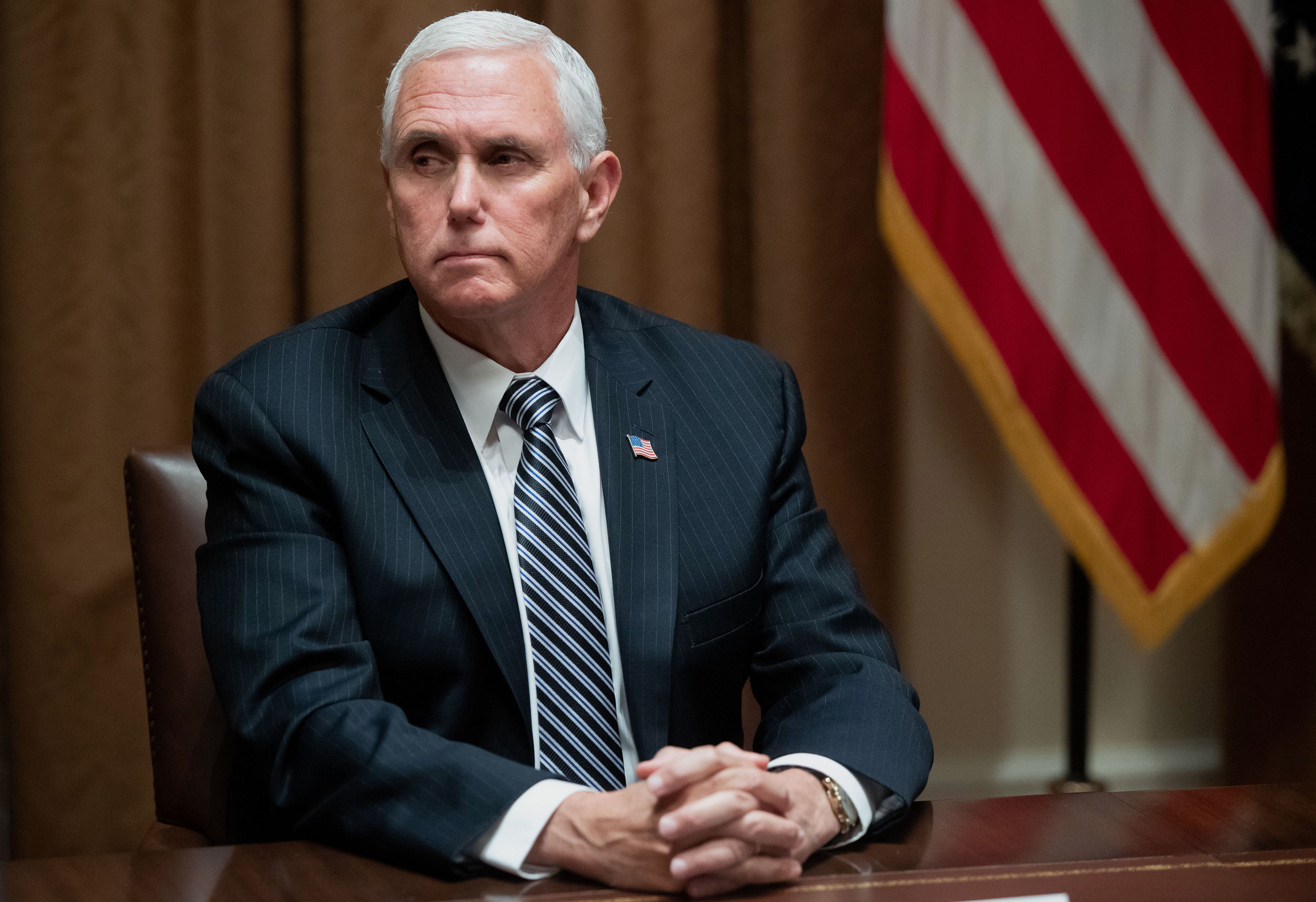 Vice President Mike Pence is attending a roundtable at the White House on June 15 in Washington.