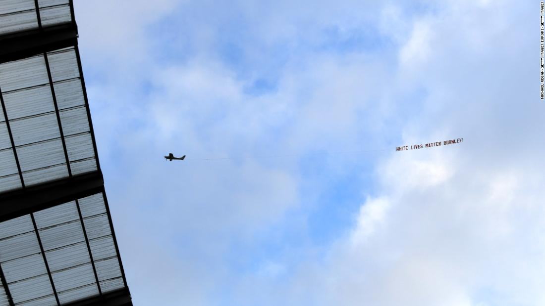 "Burnley condemns ""White Lives Matter"" banner over Etihad Stadium in Premier League match against Manchester City"