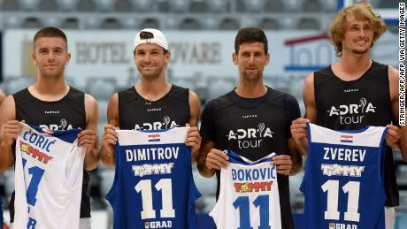 Tennis players pose for photos during the Adria tour in Zadar, Croatia. Ćorić, Dimitrov and Đoković all tested positive for coronavirus later, while Zverev returned a negative test.