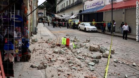 Gravel from an earthquake-damaged building in Oaxaca, Mexico on Tuesday, June 23rd.