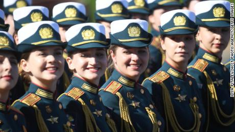 Forming a parade before the march through Moscow's Red Square.