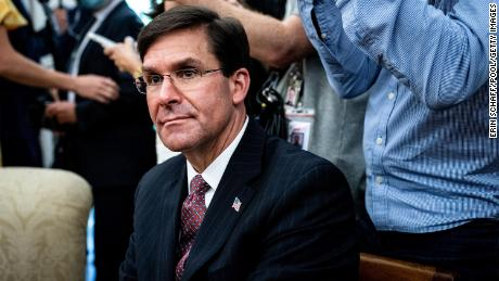 U.S. Secretary of Defense Mark Esper attended a meeting with Polish President Andrzej Duda and U.S. President Donald Trump at the White House Oval Office on June 24, 2020 in Washington, DC.