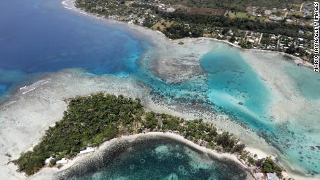 Aerial view of the island of Erakor and the coast of the Port Villa in Vanuatu.