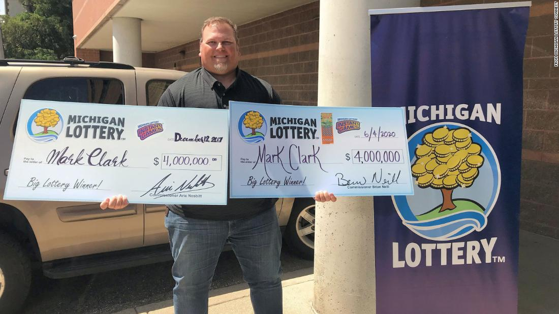 A Michigan man wins a four-million-dollar lottery jackpot for the second time