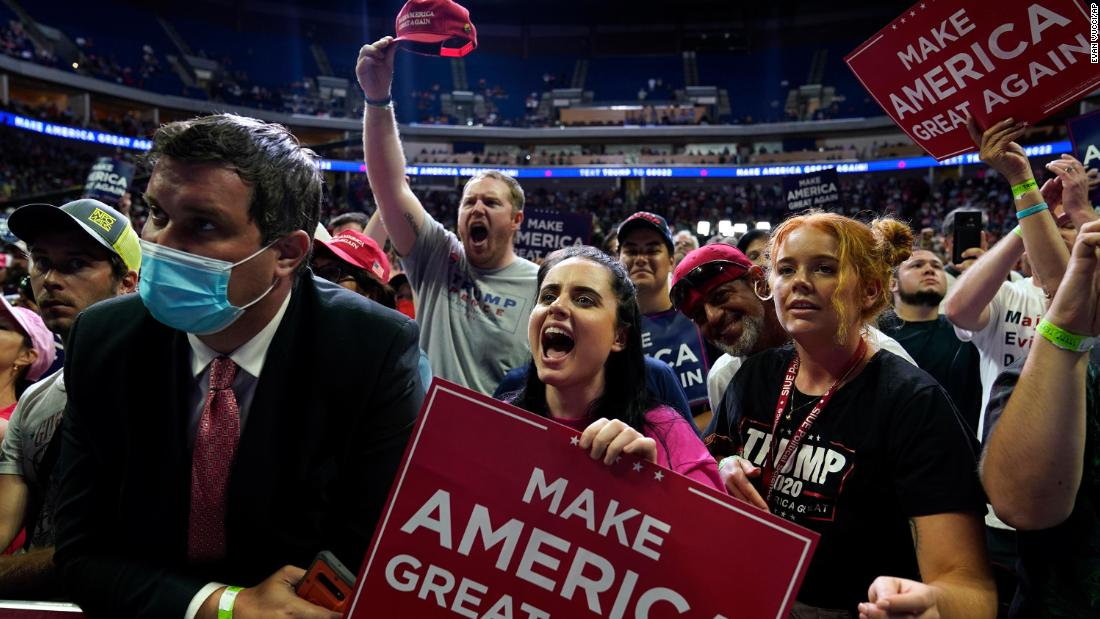 Trump's campaign removed stickers for social distancing before the Tulsa rally