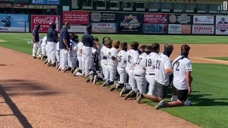 An entire high school baseball team knelt during the national anthem to protest police brutality
