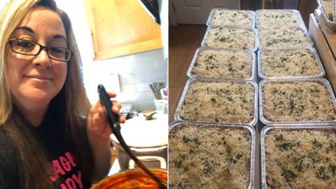 Frightened by her job, she is now a 'Lasagna lady' who prepares free meals for first responders and friends