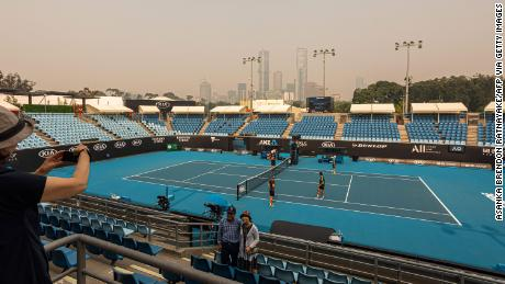 The horizon was shrouded in a thick haze of smoke in Melbourne on January 15, ahead of the Australian Open tennis tournament.