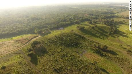 Aerial view of the southwestern part of the main plateau of Aguada Fenix.