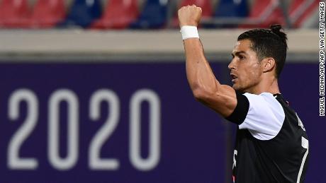 Cristiano Ronaldo celebrated after scoring against Bologna.