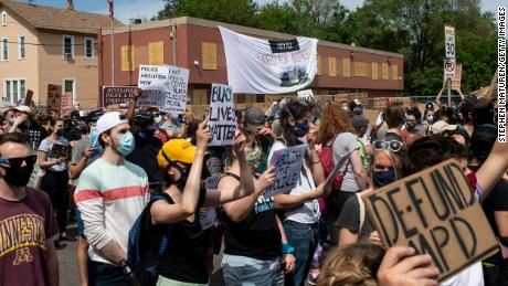 Protesters in Minneapolis called for the removal of the Minneapolis Police Department.