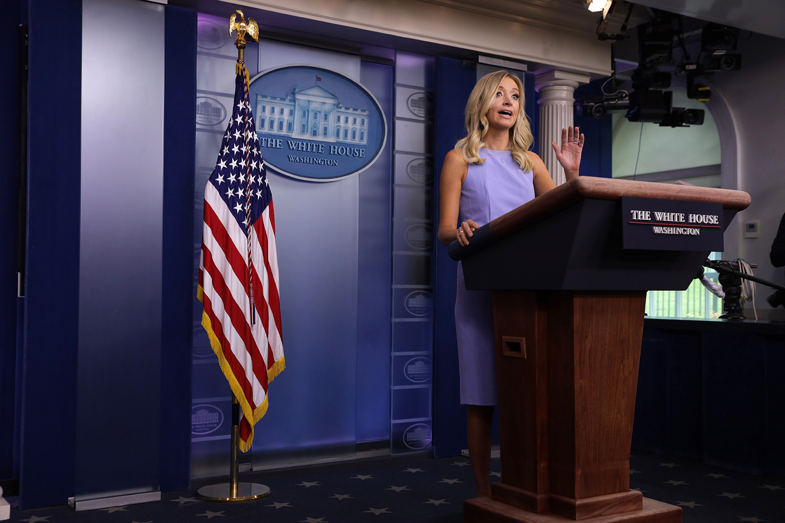 White House spokeswoman Kayleigh McEnany speaks during an information briefing at the White House in Washington on June 17.