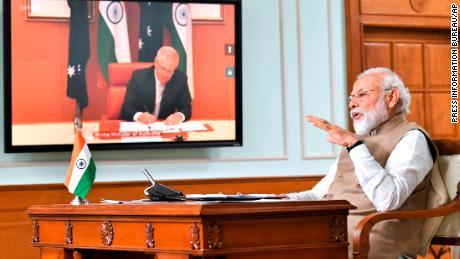Indian Prime Minister Narendra Modi speaks during a virtual meeting with Australian Prime Minister Scott Morrison, in New Delhi, India, on Thursday, June 4, 2020.