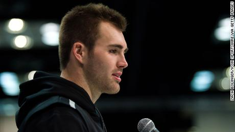 Jake Fromm of Georgia answers media questions during the NFL Scout Combine on February 25, 2020 at the Indiana Convention Center in Indianapolis, IN.