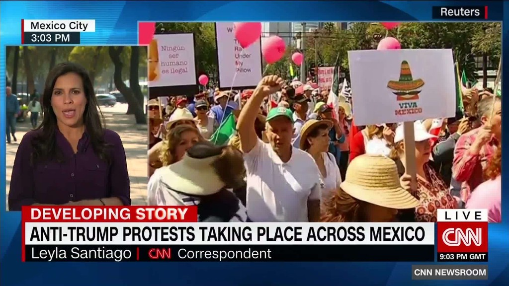 Protests against Trump are taking place across Mexico