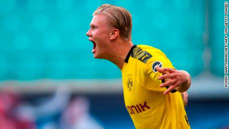 Dortmund's Norwegian striker Erling Braut Haaland is showing his enthusiasm after scoring the second and decisive goal for Borussia Dortmund in RB Leipzig.