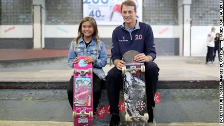 Brown (left) and Laureus Academy member Tony Hawk posed during a visit to the Laureus Sport for Good Skate Forum ahead of the 2020 Laureus World Sports Award.