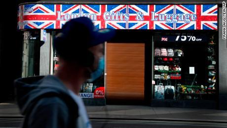 Closed souvenir shop on Oxford Street in London.