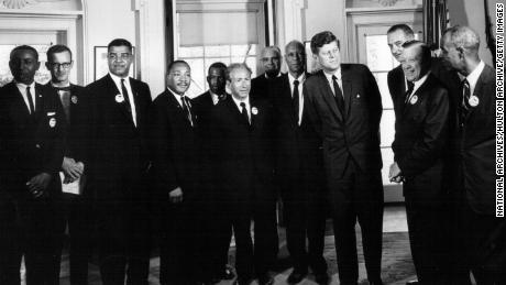 President John F. Kennedy met with civil rights leaders at the White House on August 28, 1963.