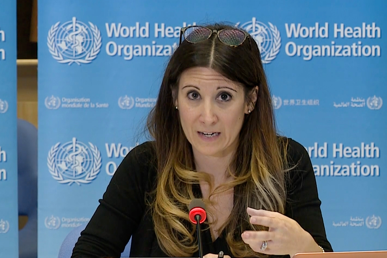 A screenshot taken from a video released by the World Health Organization shows WHO technical leader Maria Van Kerkhove speaking at a virtual news briefing on COVID-19 from WHO headquarters in Geneva on Monday, April 6th.