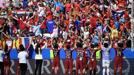 The players of Thailand admitted their supporters at the end of the match against Sweden on June 16, 2019.