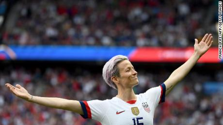 Rapinoe celebrated by scoring her first goal during the fourth final of the Women's World Cup against France in 2019.
