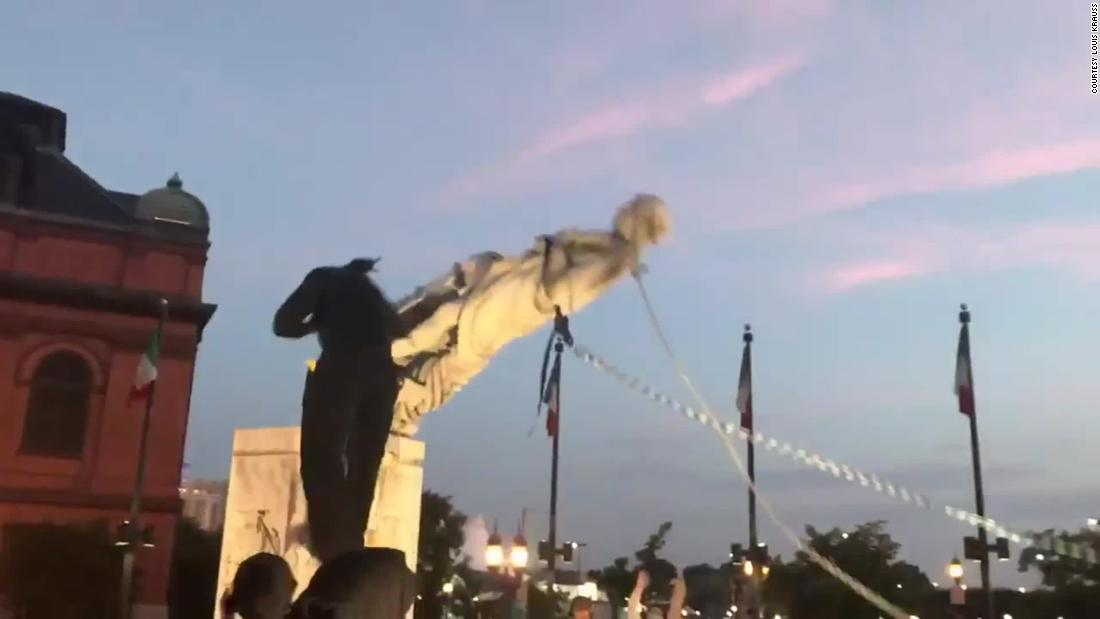 Protesters in Baltimore toppled a statue of Christopher Columbus and threw it into a harbor