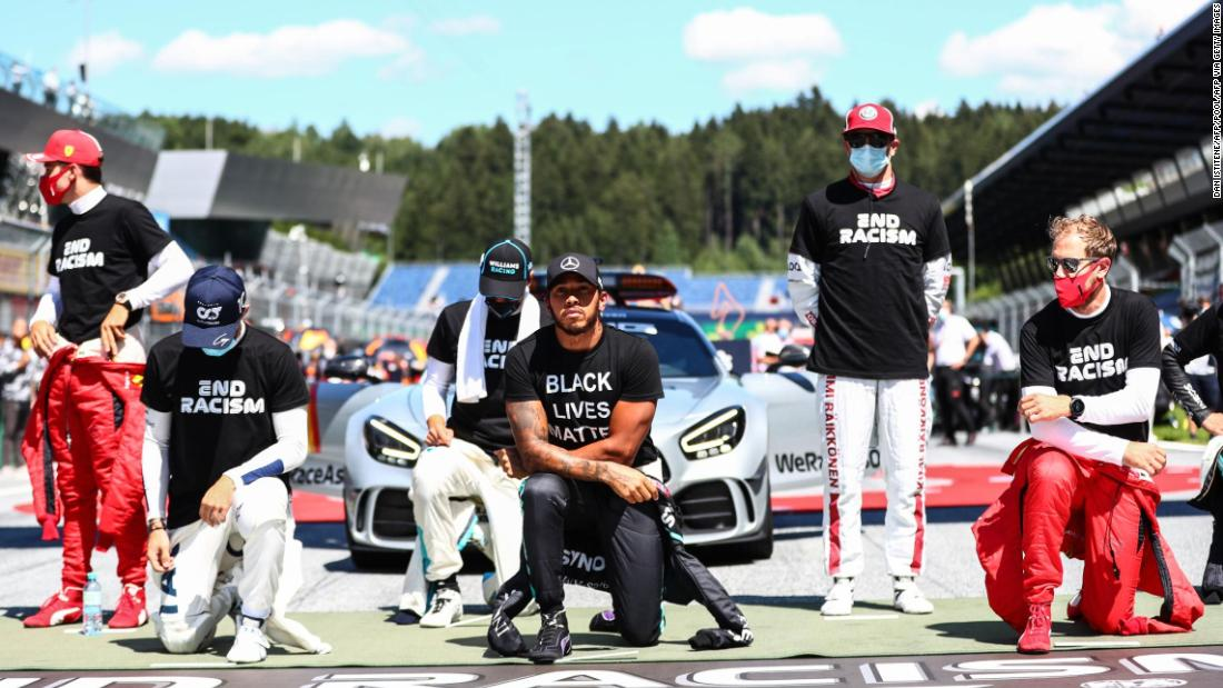 F1 drivers divided as a few choose not to kneel in support of the Black Lives Matter movement ahead of the Austrian Grand Prix