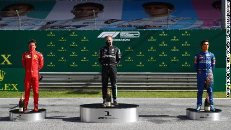 The three best drivers are celebrated on the new socially distant podium.
