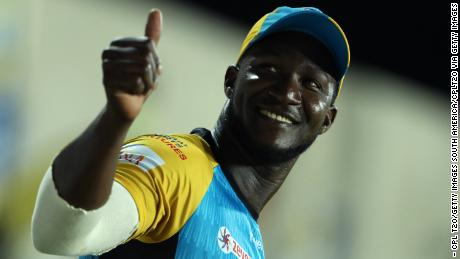 Sammy's thumb approaches the audience as he plays for the St Lucia Stars.