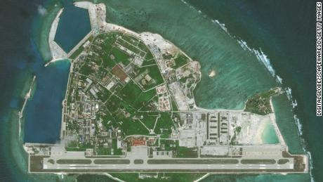 Images from DigitalGlobe taken in April 2016 from Woody Island in the South China Sea.