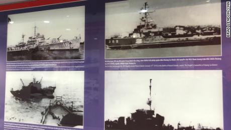 Photos in exhibitions inside the Paracel Islands Museum show ships involved in the conflict with China