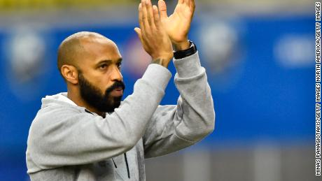 Montreal Impact head coach Thierry Henry is celebrating victory against the New England Revolution on February 29, 2020.