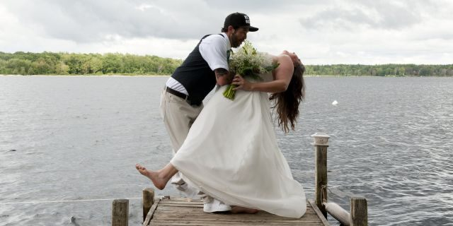 """""""I was just so in the moment and so happy that I said to Jordan 'Babe give me a dip,'"""" the bride recalled."""