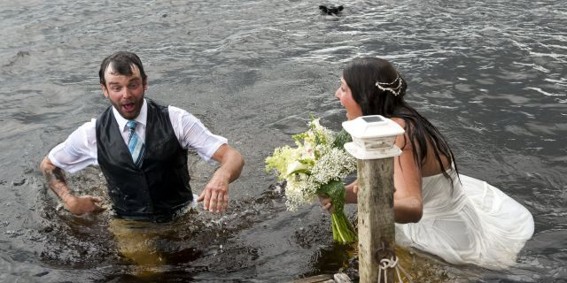 Moments later, the Vancouver Island woman emerged from the water – to discover that her new husband had tumbled in with her.