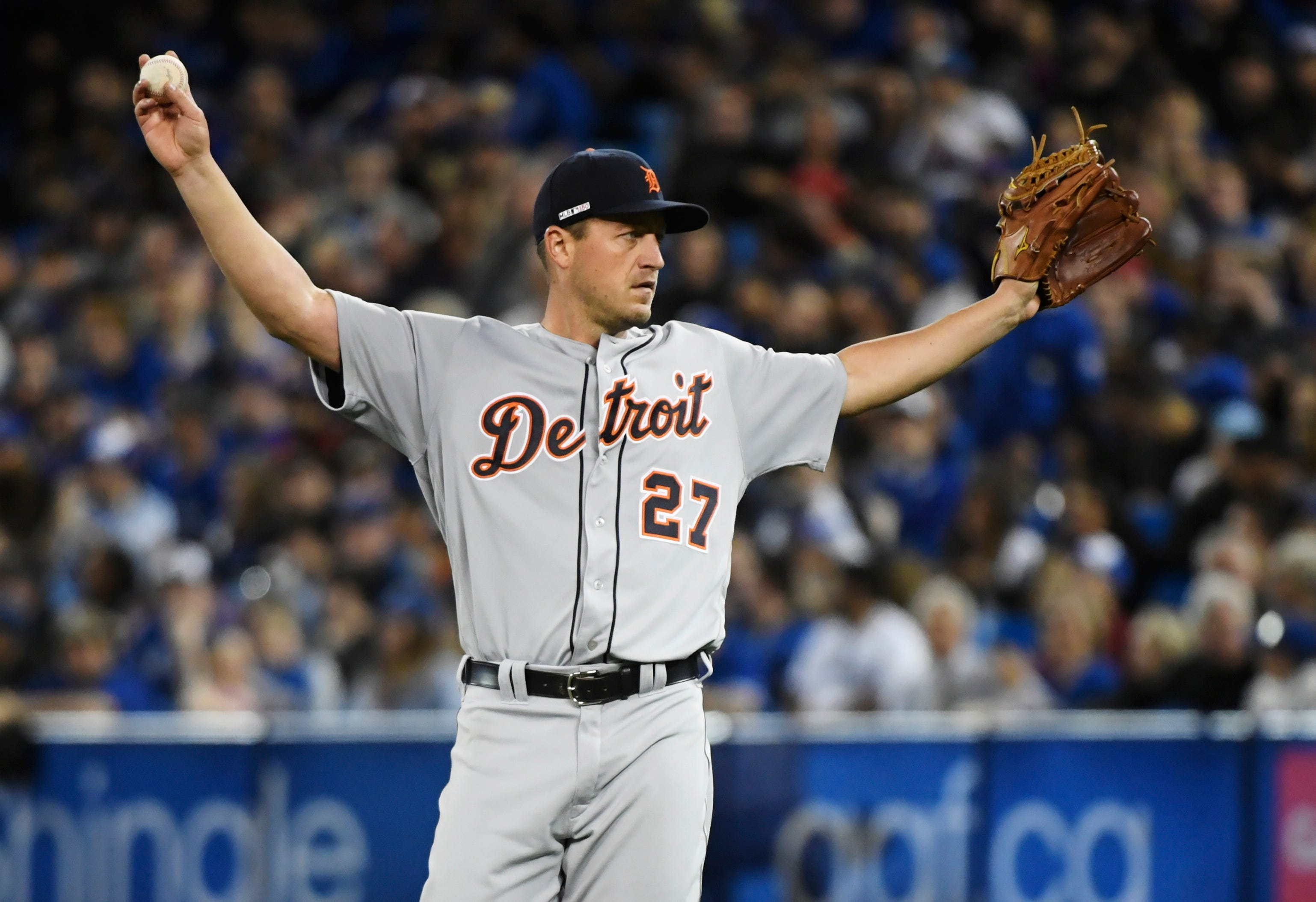 Tigers starting pitcher Jordan Zimmermann reacts after giving up a hit to Blue Jays left fielder Teoscar Hernandez, not shown, during the seventh inning in Toronto on Thursday, March 28, 2019.