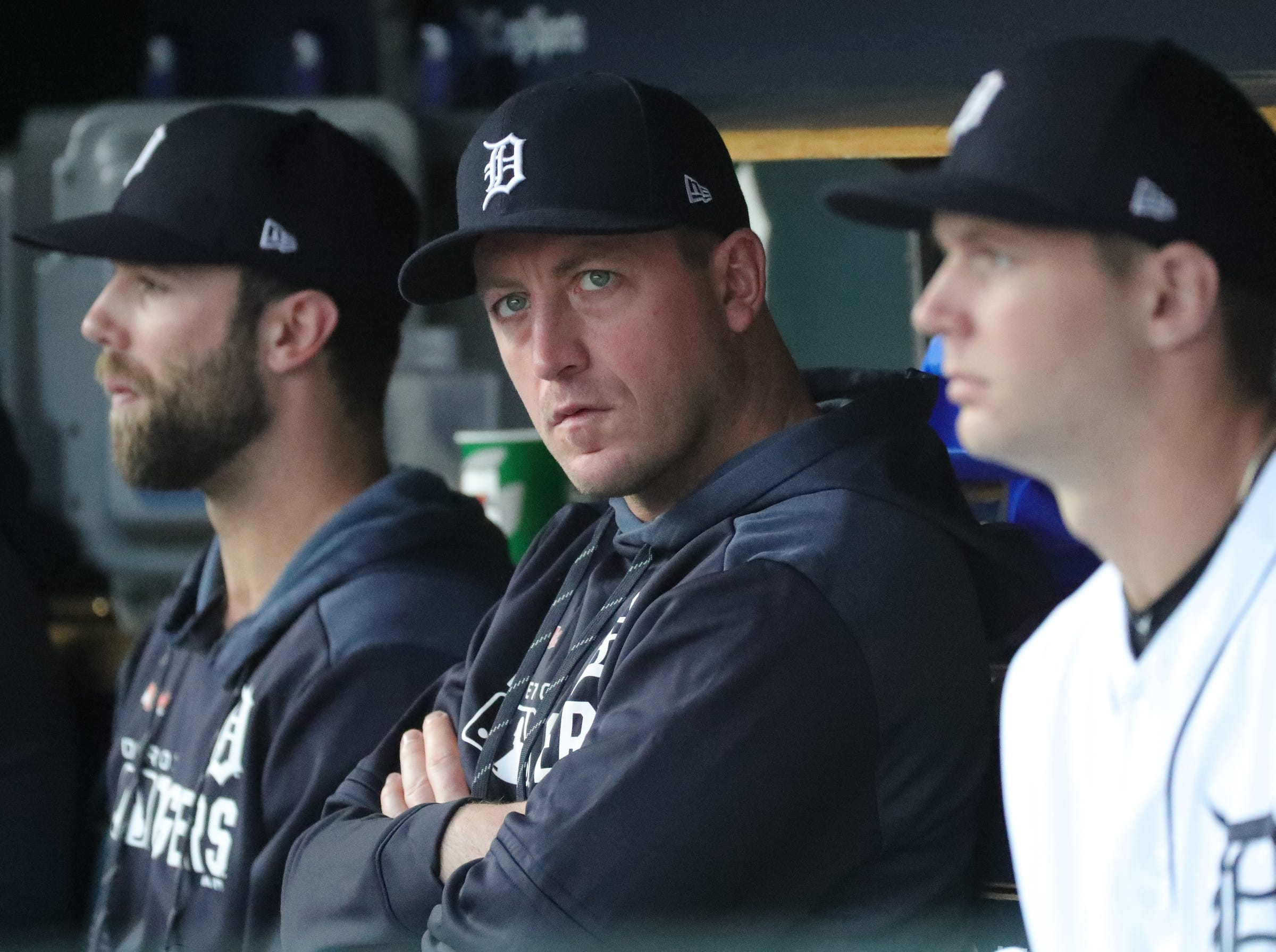 Detroit Tigers pitcher Jordan Zimmermann in the dugout during action against the Houston Astros, Wednesday, May 15, 2019 at Comerica Park.