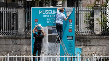 Workmen dismantle the Hagia Sophia Museum ticket booth on July 17, 2020 in Istanbul, Turkey.
