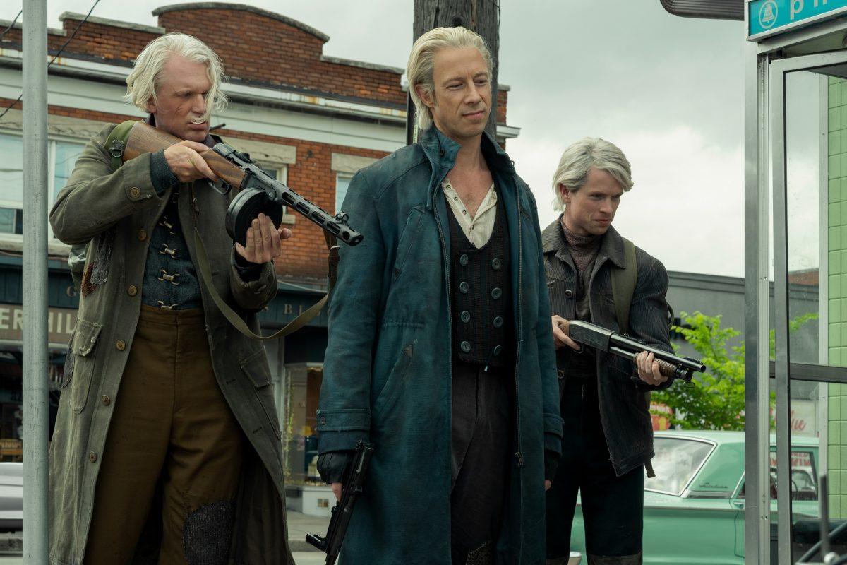 (L-R) Jason Bryden as Otto, Kris Holden-Ried as Axel, and Tom Sinclair as Oscar in 'The Umbrella Academy'