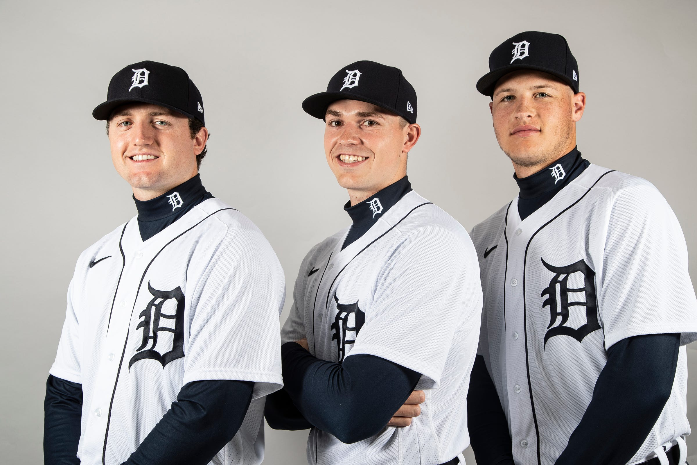 From left, pitcher Casey Mize, Tarik Skubal and Matt Manning pose for a photo during Detroit Tigers spring training at TigerTown in Lakeland, Fla., Thursday, Feb. 20, 2020.