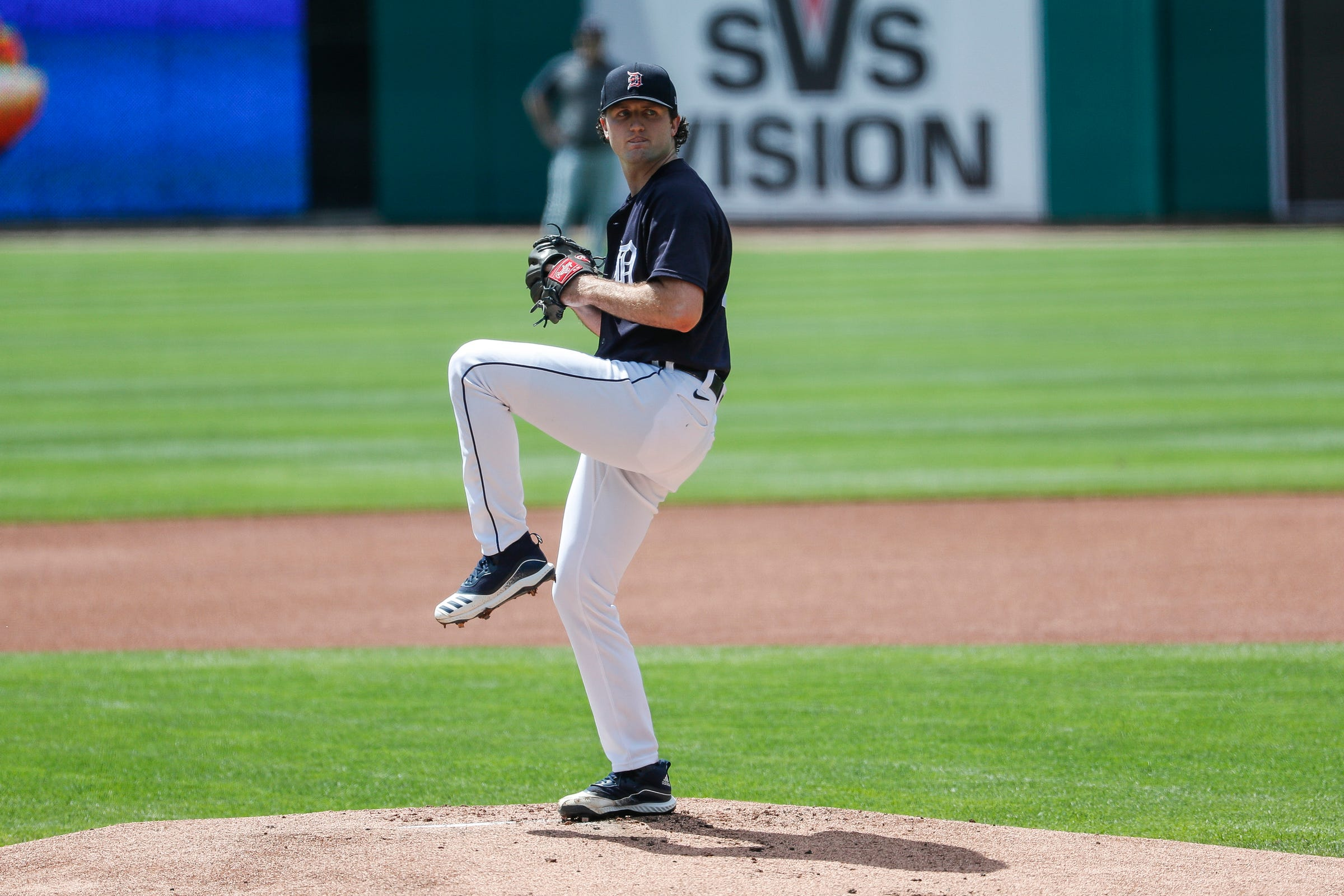 Detroit Tigers pitcher Casey Mize throws during summer camp at Comerica Park in Detroit, Tuesday, July 14, 2020.